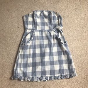 Powder Blue & White Checkered Strapless Dress